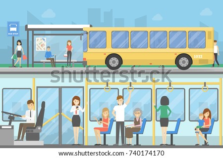 Bus stop set. People waiting for the public transport.