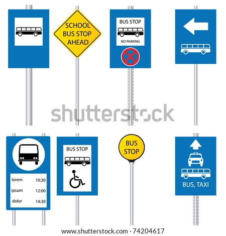 Bus stop signs and symbols
