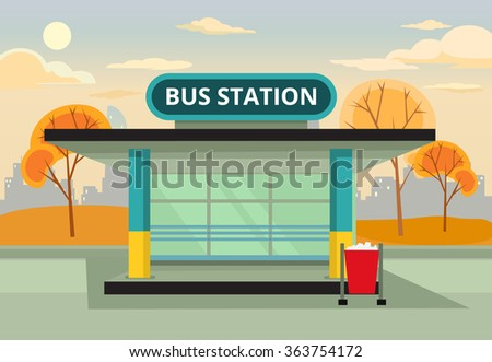 bus stop station vector flat