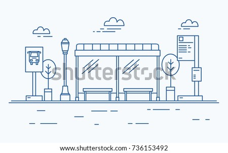 Bus stop, street light, public transport timetable or information board, sign and trees against sky with clouds on background drawn with contour lines in monochrome colors. Vector illustration.