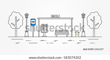 Bus stop vector illustration. Public transport station line art concept. Urban bus terminal with signpost graphic design.