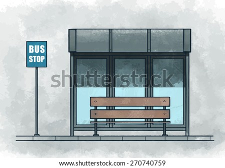 Bus stop. Watercolor vector illustration