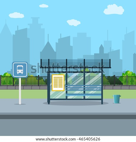 Bus stop with city background. bus stop sign and trash can. Vector illustration in flat design