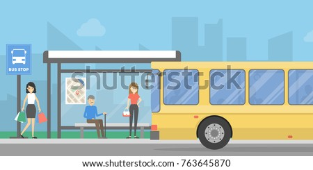 Bus stop with people and public transport. Urban landscape.