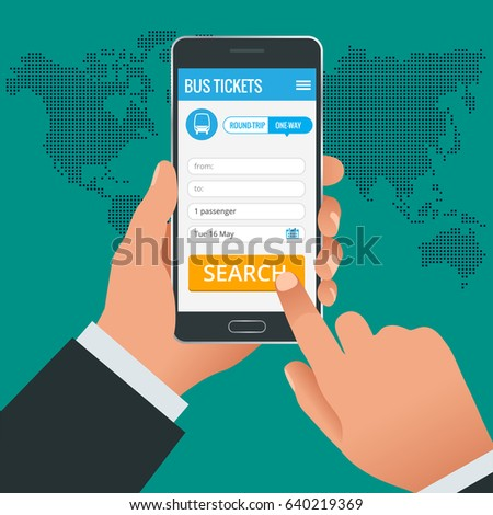 Bus tickets booking online app phone concept. Book your ticket online and pay the amount at anywhere in the world. Vector illustration