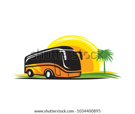 Bus Travel Adventure Symbol In Isolated Background