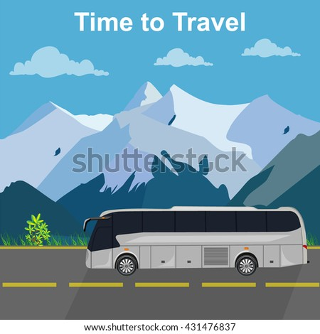 Bus traveling concept, vector illustration