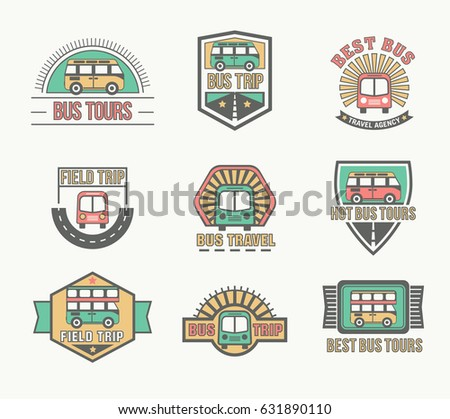 Bus trip and travel tour badge logo collection for traffic service tourism, color emblem set, vector flat style illustration isolated, different shapes