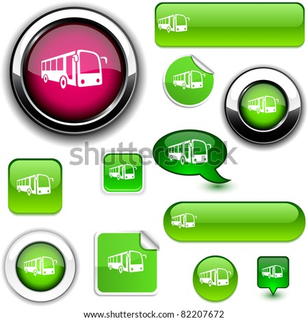 Bus vector glossy icons.