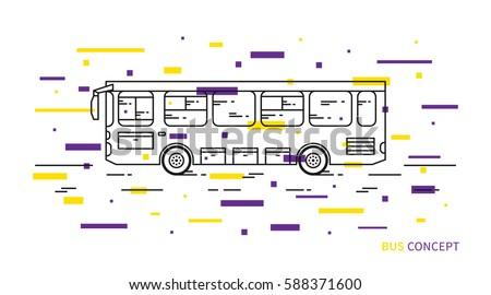 Bus vector illustration with decorative elements. Public transport line art concept. Urban vehicle (bus) graphic design.