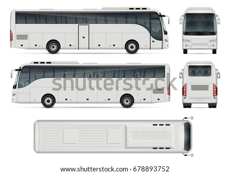 Bus vector mock-up for advertising, corporate identity. Isolated coach bus template on white. Vehicle branding mockup. All layers and groups well organized for easy editing and recolor.