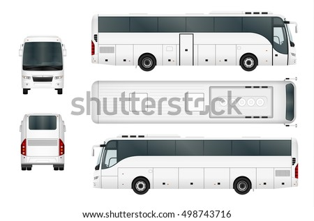 Bus vector mock-up. Isolated template of coach bus on white background. Vehicle branding mockup. Side, front, back, top view.