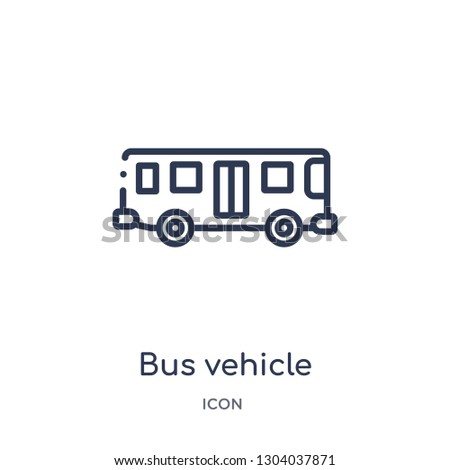 bus vehicle icon from transport outline collection. Thin line bus vehicle icon isolated on white background.