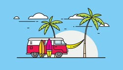Bus with surfboards on the background of palm trees and a hammock