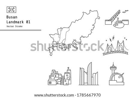 Busan, a large port city in Korea. These are maps of Busan, Yeongdo Bridge, Gwangan Bridge, Marine City, Gamcheon Culture Village, and Taejongdae Illustrations.