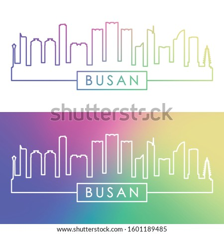 Busan skyline. Colorful linear style. Editable vector file.
