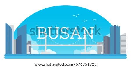 busan travel banner vector
