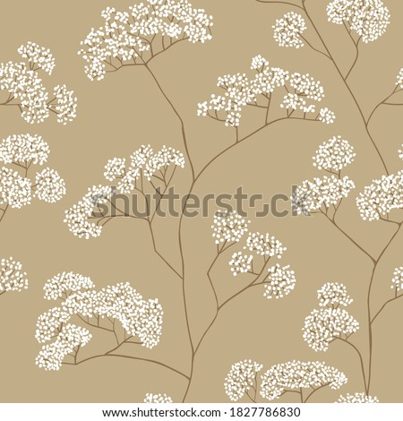 Bushes of small white flowers in beige color palette. Vector seamless pattern design for textile, fashion, paper, packaging and branding.  Photo stock ©