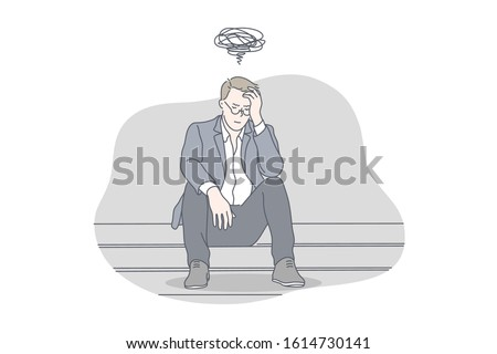 Busines, depression, stress, problem, work concept. Young exhausted, nervous, thoughtful businessman has work problem and got depression. Work may cause raise of stress level. Simple flat vector