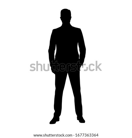 Businesmann in suit standing with hand in pocket, front view. Isolated vector silhouette. Business people