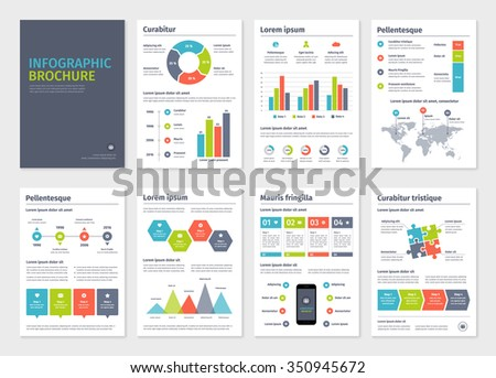 Business A4 brochures template with infographic vector elements.