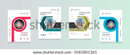 Business abstract vector template. Brochure design, cover modern layout, annual report, poster, flyer in A4 with colourful triangles, geometric shapes for tech, science, market with light background. #1065801365
