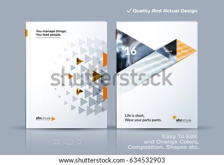 Business abstract vector template. Brochure design, cover modern layout, annual report, poster, flyer in A4 with yellow triangles, geometric shapes for tech, science, market with light background.