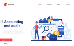 Business accounting and financial audit vector illustration. Flat cartoon accountant character making auditing process with analysis review, tax report. Business service interface design for web site