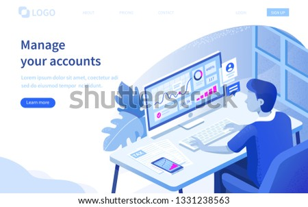 Business accounting concept. Can use for web banner, infographics, hero images. Flat isometric vector illustration isolated on white background.