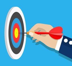 Business achievement, success concept. Businessman holding dart hitting the target. Aim in business. Vector illustration in flat style