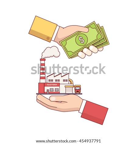 Business acquisition deal. Buying and selling factory for a money. Hands holding cash and production plant. Modern flat style thin line vector illustration isolated on white background.