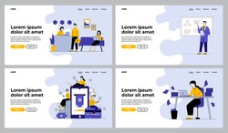 Business activities set. Businesspeople at reception, project presentation, online payment, paperwork. Flat vector illustrations. Work, job concept for banner, website design or landing web page