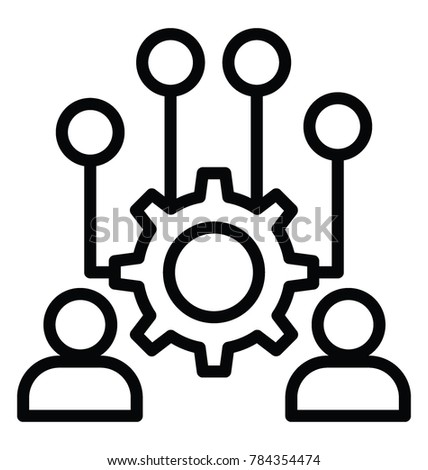 Business administration or business management line icon