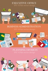 Business administration, planning, execution, management, office work. Creative illustration set of flat design. Concept for web design and flyers