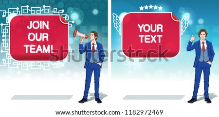 Business advertisement concept clipart. Announce banners with Businessman. Team work invitation cards. Colorful cartoon characters. Vector illustration.