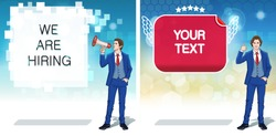 Business advertisement concept clipart. Announcement banner template. Work invitation cards. Colorful cartoon characters. Vector illustration.