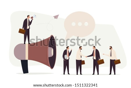 Business advertising promotion concept. Promoter standing on big megaphone talking to the investors. Advertisement marketing. Modern flat vector illustration.