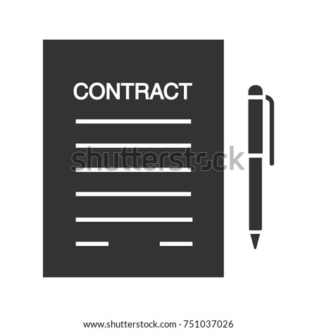 Business agreement, contract glyph icon. Document paper with pen. Silhouette symbol. Employment contract. Negative space. Vector isolated illustration