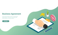 business agreement partnership concept with modern isometric style for website template or landing homepage - vector