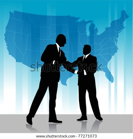 business agreement with america map - stock vector
