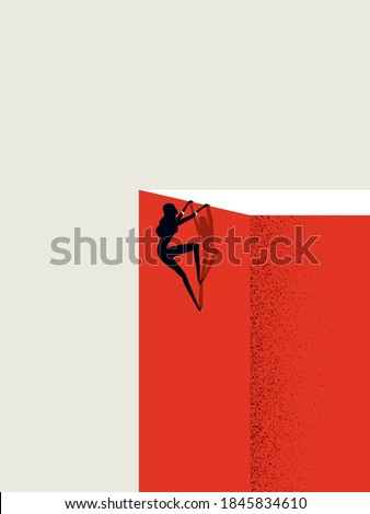 Business ambition and achievement for businesswoman vector concept. Woman climbs on top of cliff. Symbol of success, career, leadership. Eps10 illustration.