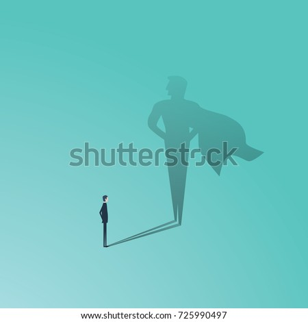 Business ambition and success vector concept. Businessman with superhero shadow as symbol of power, leadership, courage, bravery. Eps10 vector illustration.