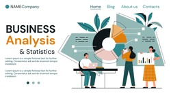 Business analysis and teamwork concept with diverse people analysing statistical charts and graphs and copyspace for text, colored vector illustration
