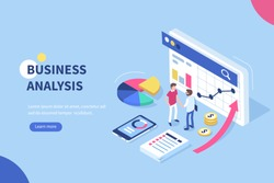Business analysis  concept banner with characters. Can use for web banner, infographics, hero images. Flat isometric vector illustration isolated on white background.