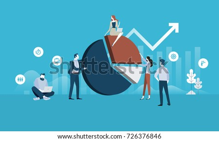 Business analysis. Flat design business people concept. Vector illustration for web banner, business presentation, advertising material.