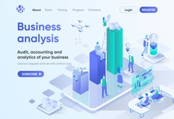 Business analysis isometric landing page. Professional audit, accounting and analytics service. Consulting company template for CMS and website builder. Isometry scene with people characters.
