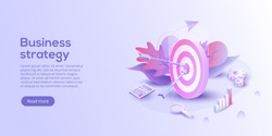 Business analysis isometric vector illustration. Growth strategy or financial goal concept. Growing graph and target as successful entrepreneurship metaphor.