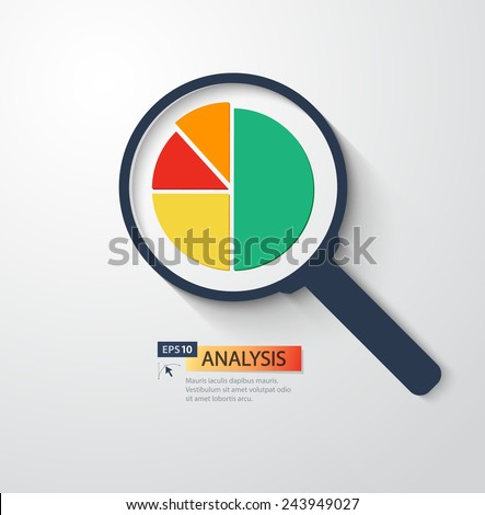 Business analysis magnifying glass icon.Vector flat style illustration