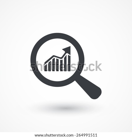 Business Analysis symbol with magnifying glass icon and rising bars chart