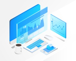 business analysis system, isometric blue light concept. there are computer laptop and graph screen. vector illustration